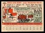 1956 Topps #7   Ron Negray Back Thumbnail