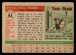 1955 Topps #41  Chuck Stobbs  Back Thumbnail