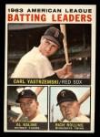 1964 Topps #8  1963 AL Batting Leaders  -  Carl Yastrzemski / Al Kaline / Rich Rollins Front Thumbnail