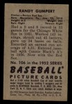 1952 Bowman #106   Randy Gumpert Back Thumbnail