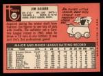 1969 Topps #482 YN  Jim Gosger Back Thumbnail