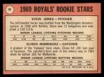 1969 Topps #49 COR  Steve Jones / Ellie Rodriguez Back Thumbnail