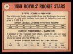 1969 Topps #49 COR Royals Rookies  -  Steve Jones / Ellie Rodriguez Back Thumbnail