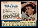 1962 Post Cereal #34   Milt Pappas  Front Thumbnail