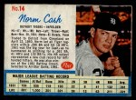 1962 Post Cereal #14 ERR Norm Cash  Front Thumbnail