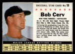 1961 Post Cereal #13 BOX Bob Cerv  Front Thumbnail