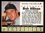 1961 Post Cereal #91 BOX  Bob Allison Front Thumbnail