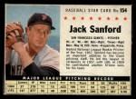 1961 Post Cereal #154 BOX  Jack Sanford  Front Thumbnail