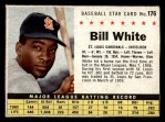 1961 Post Cereal #176 BOX Bill White   Front Thumbnail