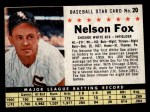 1961 Post Cereal #20 BOX Nellie Fox   Front Thumbnail
