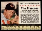 1961 Post Cereal #64 BOX Tito Francona   Front Thumbnail