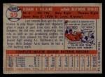 1957 Topps #59   Dick Williams Back Thumbnail