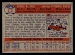 1957 Topps #12   Dick Groat Back Thumbnail