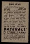 1952 Bowman #16  Omar Lown  Back Thumbnail