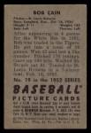 1952 Bowman #19   Bob Cain Back Thumbnail