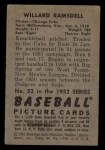 1952 Bowman #22  Willard Ramsdell  Back Thumbnail