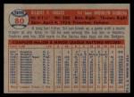 1957 Topps #80  Gil Hodges  Back Thumbnail