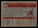 1957 Topps #140  Frank Thomas  Back Thumbnail