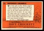 1956 Topps Davy Crockett #70 ORG Defenses Crumble   Back Thumbnail