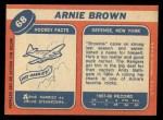 1968 Topps #68  Arnie Brown  Back Thumbnail