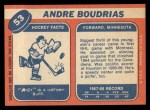 1968 Topps #53  Andre Boudrias  Back Thumbnail