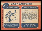 1968 Topps #117  Gary Sabourin  Back Thumbnail