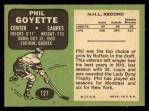 1970 Topps #127   Phil Goyette Back Thumbnail