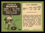 1970 Topps #44  Charlie Burns  Back Thumbnail