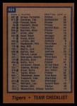 1978 Topps #404  Tigers Team Checklist  Back Thumbnail