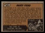 1962 Bubbles Inc Mars Attacks #42   Hairy Fiend  Back Thumbnail