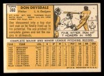 1963 Topps #360   Don Drysdale Back Thumbnail