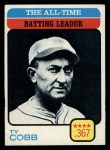 1973 Topps #475  All-Time Batting Leader  -  Ty Cobb Front Thumbnail