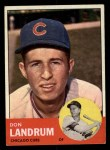 1963 Topps #113 UER  -  Don Landrum / Ron Santo Don Landrum's Card with Ron Santo's Picture Front Thumbnail