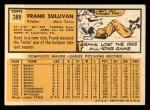 1963 Topps #389   Frank Sullivan Back Thumbnail