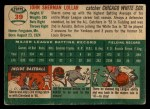 1954 Topps #39   Sherm Lollar Back Thumbnail