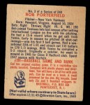 1949 Bowman #3  Bob Porterfield  Back Thumbnail