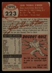 1953 Topps #223  John O'Brien  Back Thumbnail