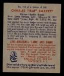1949 Bowman #213  Red Barrett  Back Thumbnail