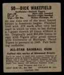 1949 Leaf #50  Dick Wakefield  Back Thumbnail