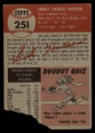 1953 Topps #251   Sid Hudson Back Thumbnail