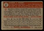 1952 Topps #61 RED  Tookie Gilbert Back Thumbnail