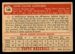 1952 Topps #148   Johnny Klippstein Back Thumbnail