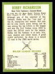 1963 Fleer #25  Bobby Richardson  Back Thumbnail