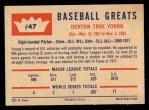 1960 Fleer #47  Cy Young  Back Thumbnail