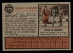 1962 Topps #175 A  Frank Howard Back Thumbnail