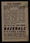 1952 Bowman #93   Paul Richards Back Thumbnail