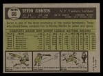 1961 Topps #68   Deron Johnson Back Thumbnail