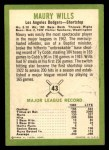 1963 Fleer #43  Maury Wills  Back Thumbnail