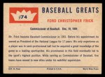 1960 Fleer #74   Ford Frick Back Thumbnail