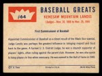 1960 Fleer #64   Judge Landis Back Thumbnail